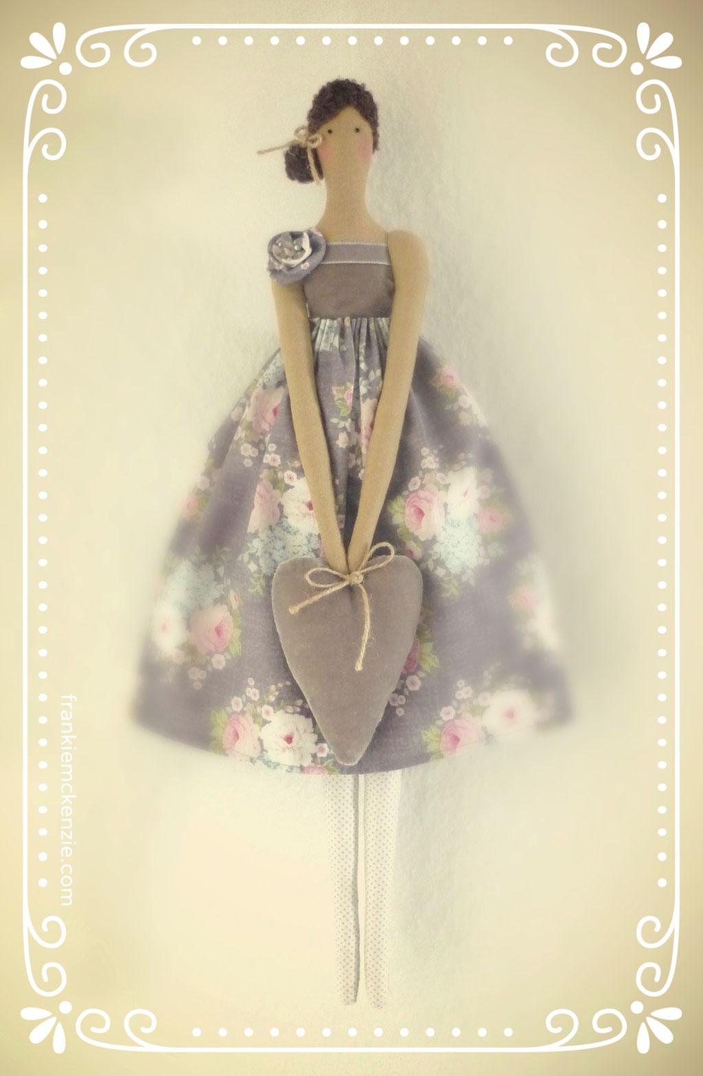 Tilda Vintage Doll Angel holding a velvet heart
