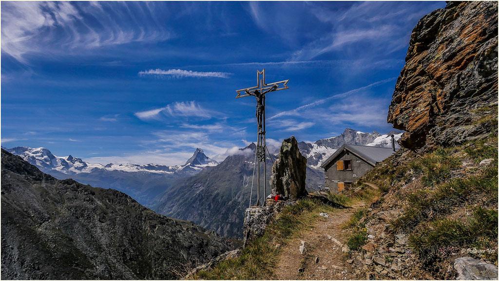 Panorama Kinhütte  Breithorn-Kl.Matterhorn-Matterhorn-Mettelhorn und Zinalrothorn