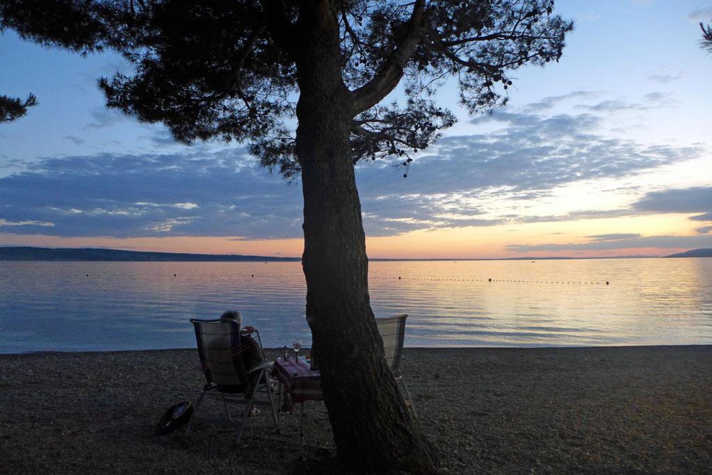 Abendstimmung am Camp in Starigrad Paklenica