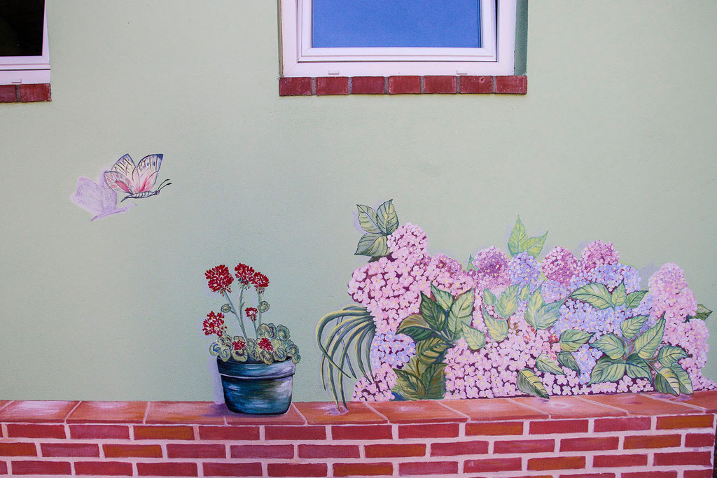 Fresque murale - Hortensia - Copyright Pascale Richert
