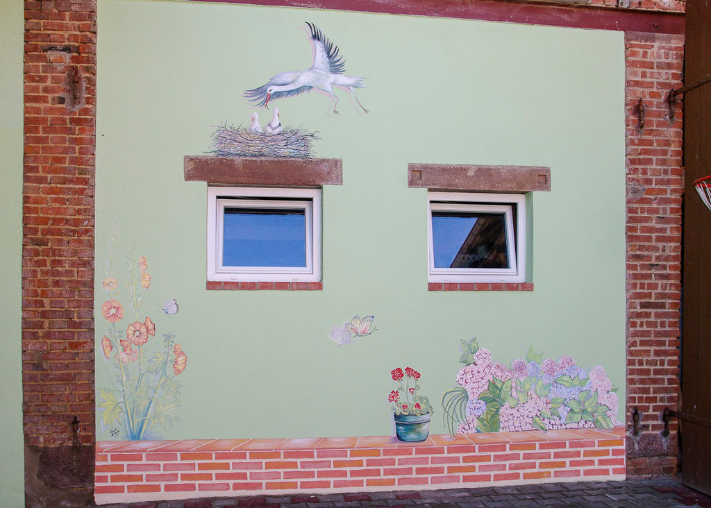 Fresque murale -Décor floral (4,00 m x 2,5 m ) -Copyright Pascale Richert