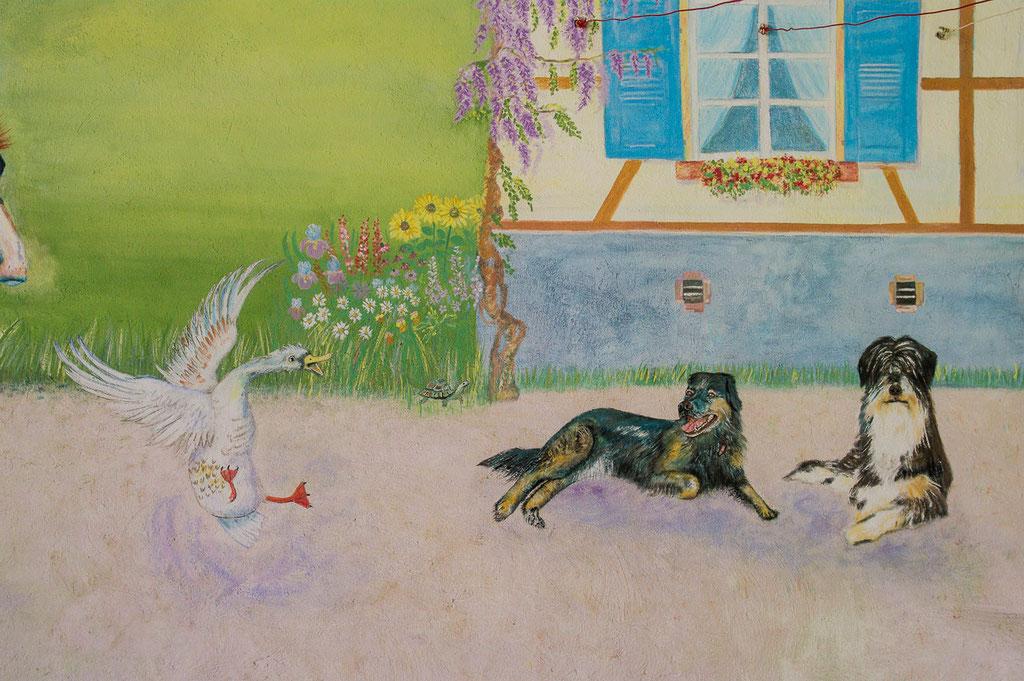 Fresque murale - Décor champêtre - Détail - Copyright Pascale Richert