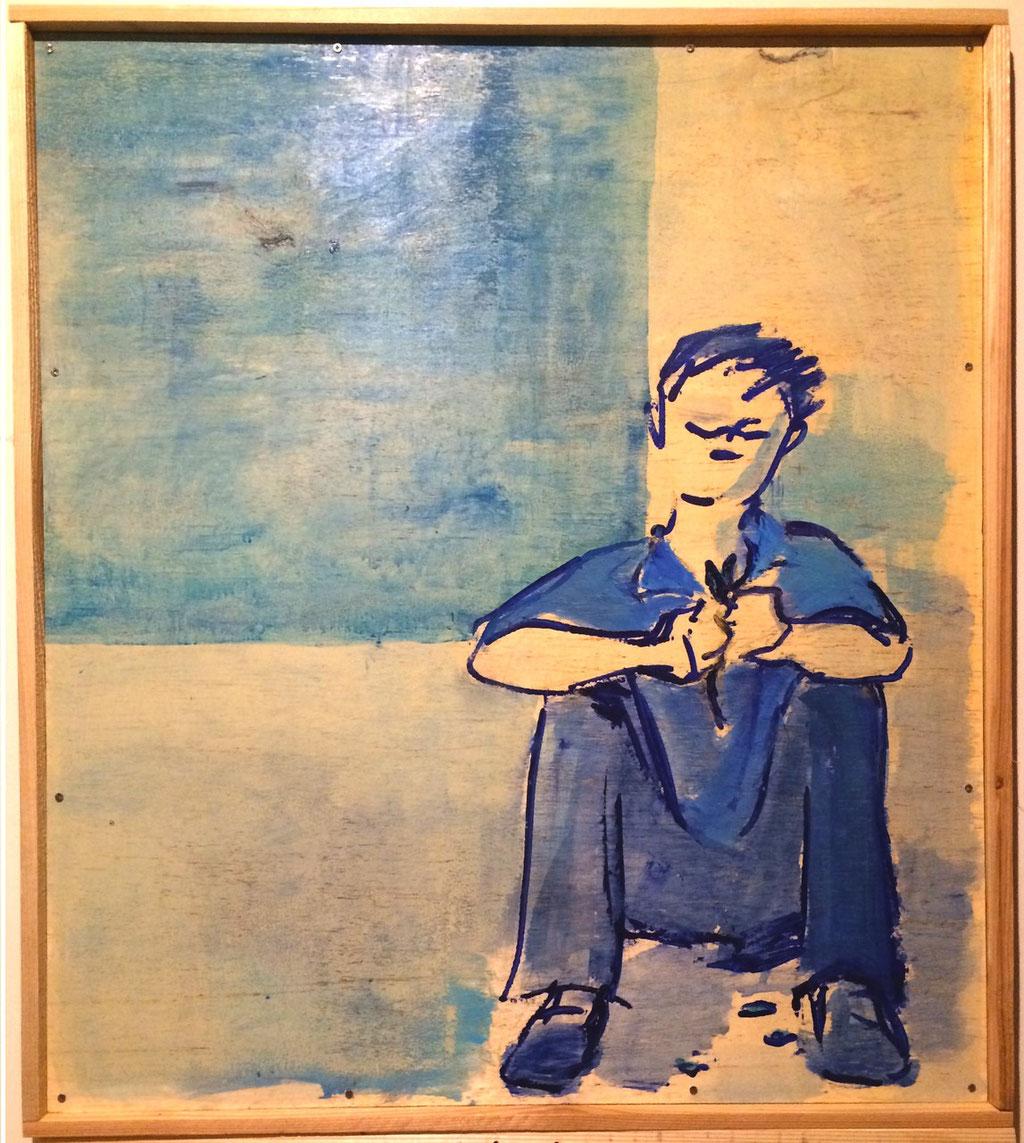 「青い窓辺」/2014 800×800×30(¥65,000)