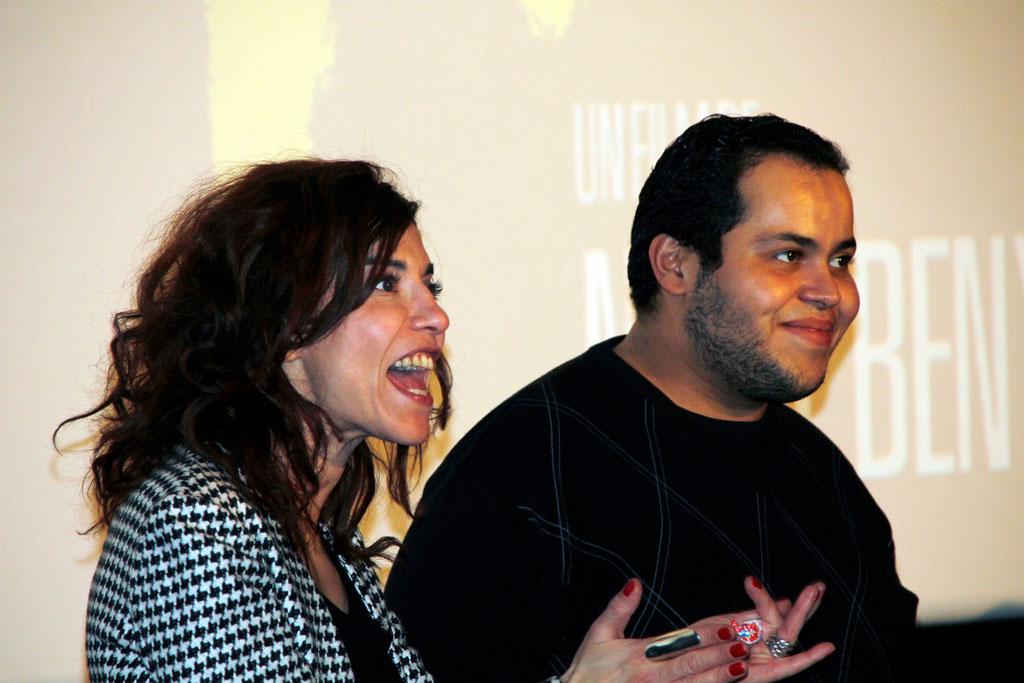 """Lubna Azabal et M'Barek Belkouk, lors de l'avant-Première du film """"La Marche""""  Lyon - 5 Novembre 2013 - Photo © Anik COUBLE"""