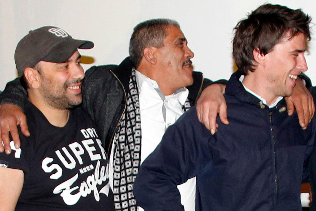 """Hugo Selignac à droite et Nabil Ben Yadir à gauche, lors de l'avant-Première du film """"La Marche""""  Lyon - 5 Novembre 2013 - Photo © Anik COUBLE"""