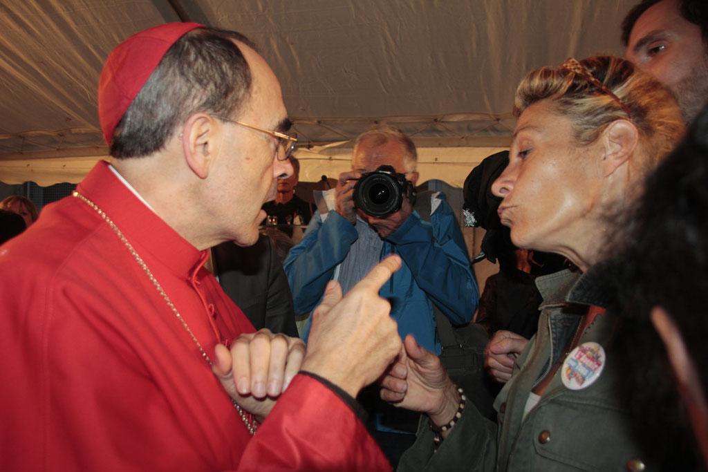 Le Cardinal Philippe Barbarin et Frigide Barjot, lors du renouvellement du vœu des Echevins - Musée de Fourvière - Lyon - 08 Sept 2013 © Pascale Millet