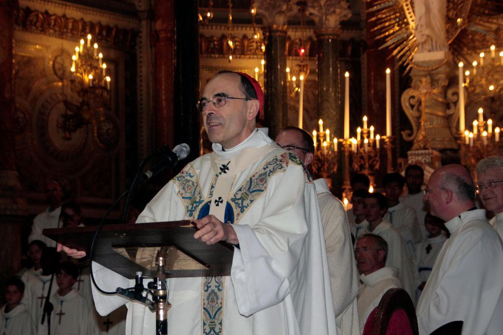 Le Cardinal Philippe Barbarin, archevêque de Lyon, lors du renouvellement du voeu des Echevins - Basilique de Fourvière - Lyon - 08 Sept 2013 © Anik COUBLE