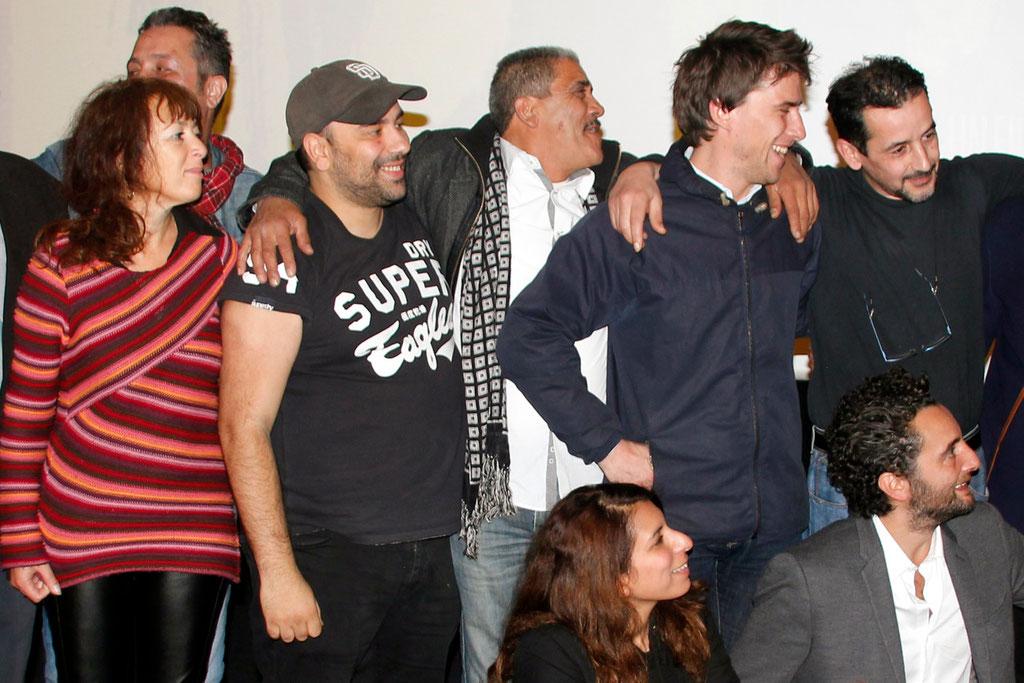 """Debout, Marie-Laure Mahé, Nabil Ben Yadir et Hugo Selignac, lors de l'avant-Première du film """"La Marche""""  Lyon - 5 Novembre 2013 - Photo © Anik COUBLE"""