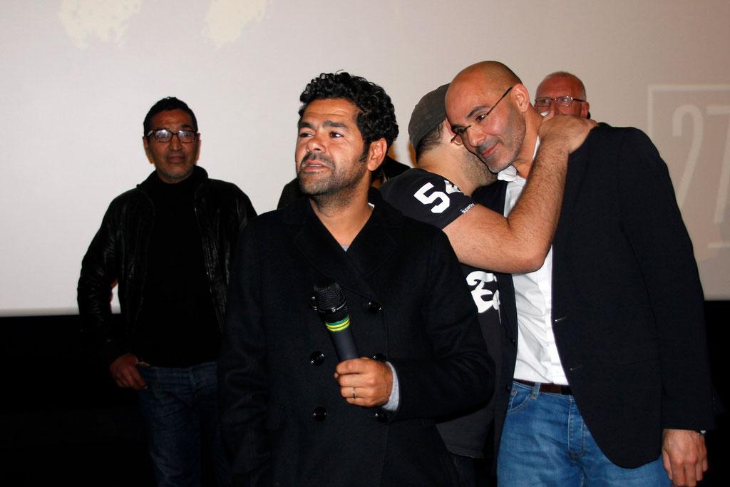 """Jamel Debbouze, Nabil Ben Yadir et Toumi Djaïdja, lors de l'avant-Première du film """"La Marche""""  Lyon - 5 Novembre 2013 - Photo © Anik COUBLE"""