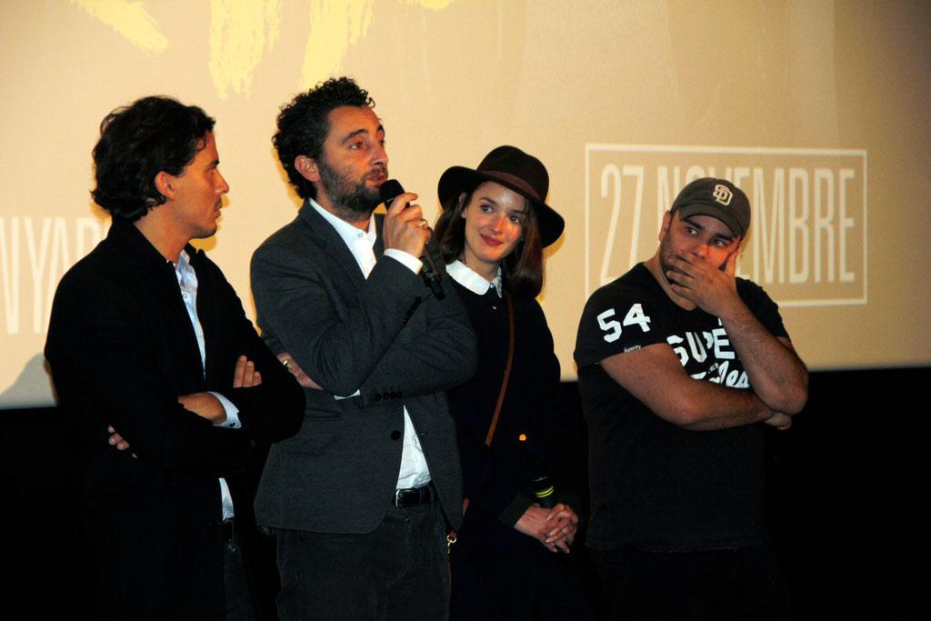 """Tewfik Jallab, Nader Boussandel et Charlotte Le Bon, et Nabil Ben Yadir, lors de l'avant-Première du film """"La Marche""""  Lyon - 5 Novembre 2013 - Photo © Anik COUBLE"""