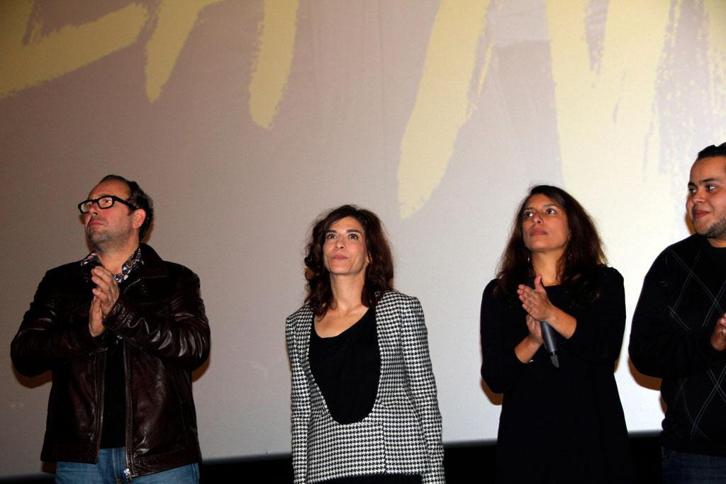 """Olivier Gourmet, Lubna Azabal et Nadia Lakhdar, lors de l'avant-Première du film """"La Marche""""  Lyon - 5 Novembre 2013 - Photo © Anik COUBLE"""