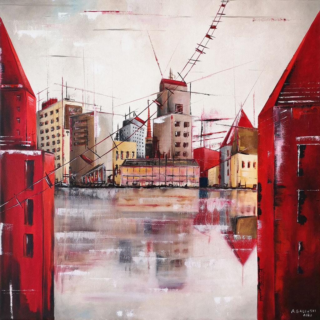 """Urban Red"" | 2020 | Öl auf Leinwand | 60x60 cm"