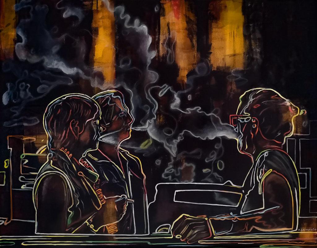 """Smoker's Talk"" | 2021 | Öl und Acryl auf Leinwand | 80x100 cm"