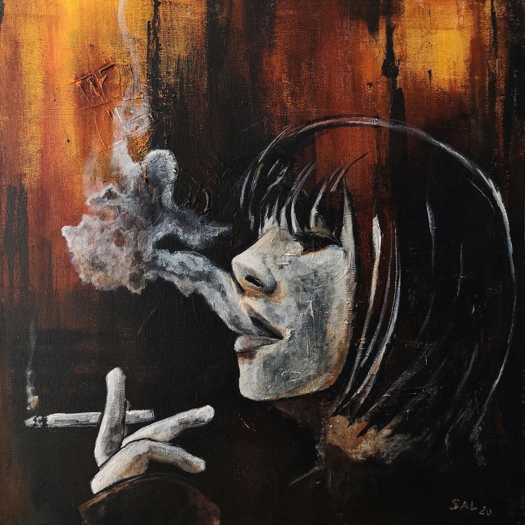 """Smoker's Corner"" | 2020 | Acryl auf Leinwand | 40x40 cm"