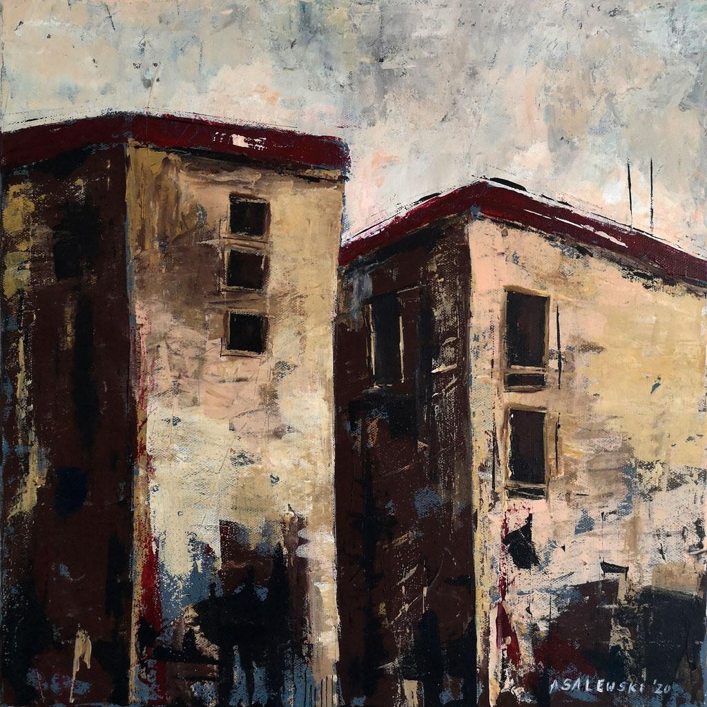 """Urbane Stimmungen"" (Urban atmospheres) | 2020 | Acryl auf Leinwand | 40x40 cm"