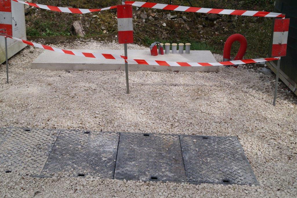 Saint-Agnan : la chambre de tirage et la dalle béton.