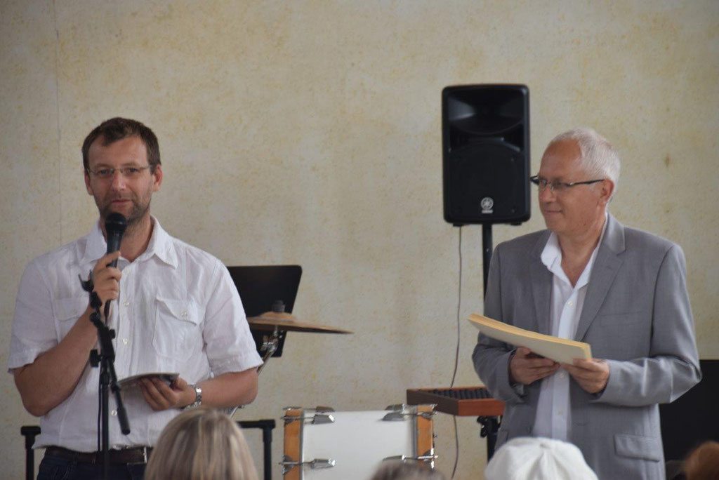 De gauche à droite : Nicolas Diedic, président du SISSC, et José Luton, directeur de l'Ecole de musique de Crézancy/Jaulgonne.