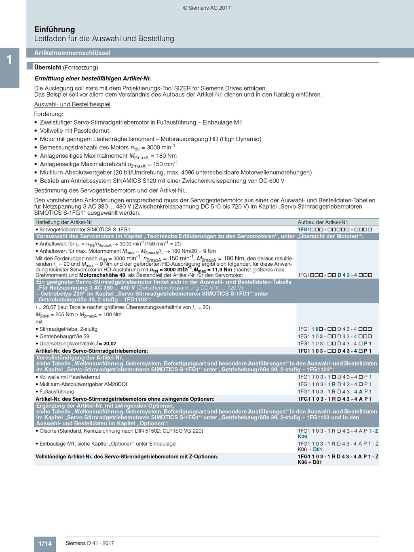 Siemens Katalog (D 41 / 1/14): Artikelnummernschlüssel Übersicht © Siemens AG 2019, Alle Rechte vorbehalten