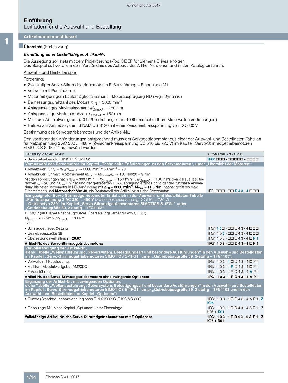Siemens Katalog (D 41 / 1/14): Artikelnummernschlüssel Übersicht © Siemens AG 2020, Alle Rechte vorbehalten