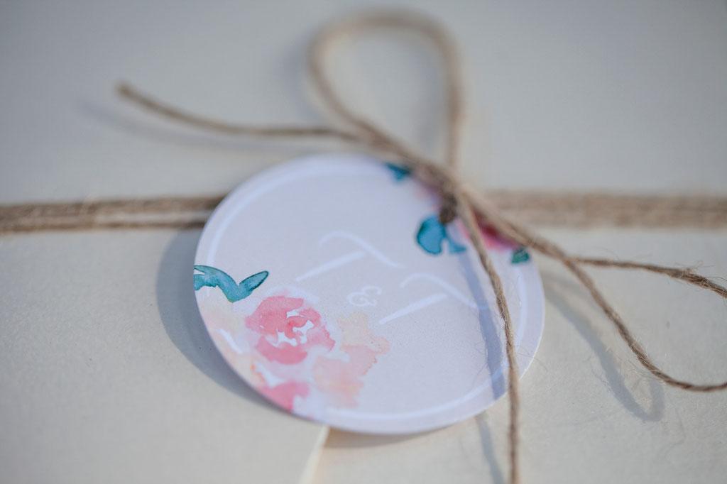 Pocketfold-Einladung, Hochzeitseinladung, Hochzeitspapeterie, Mirjam Wilde, Lisa Wagner, Pastell, mint, apricot, rosé, Hochzeitsset, Papeterie, individuell, Boho, rustikal, Vintage