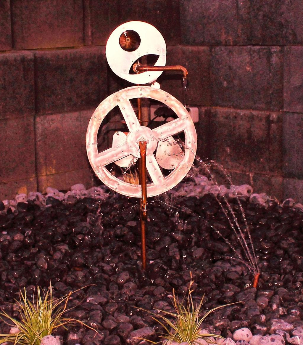 Wasserrad 02 - Dekoidee Haus Garten Gartendekoration, Deko, Garten, Metall, Zink, Zinkkunst, Kunst aus Zink, Kunst aus Blech, Blechkunst