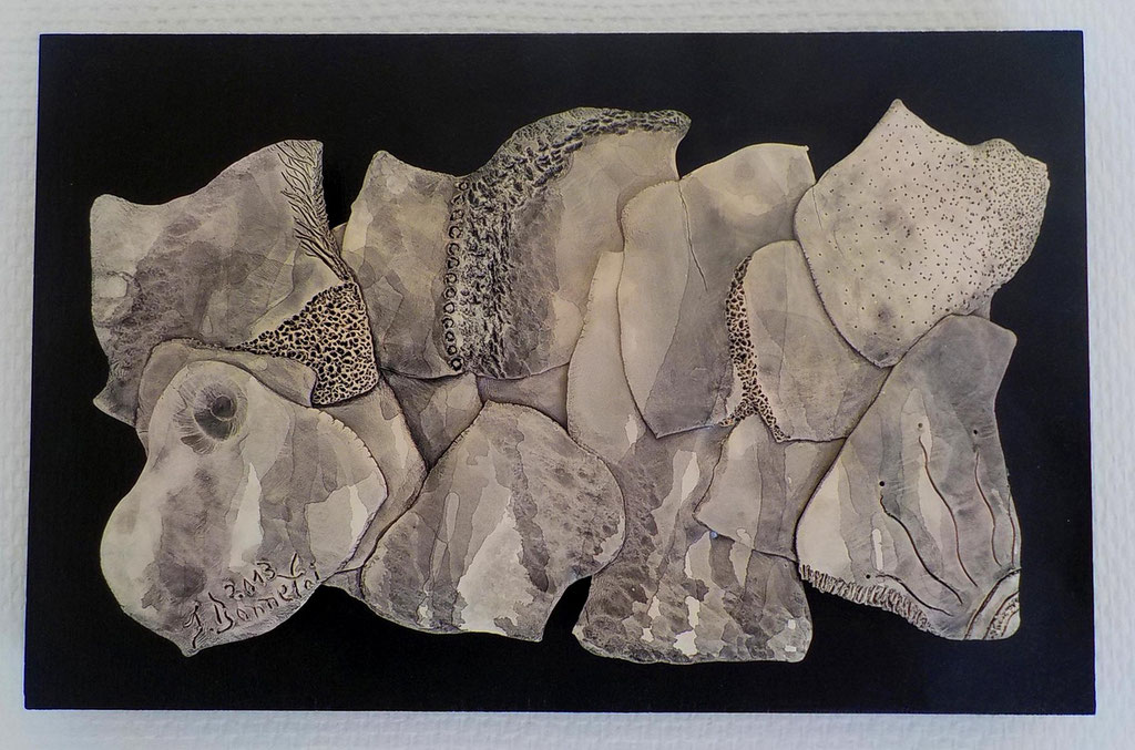 Opus 80 - 2013 - L 28 x H 16,5 cm (L 32 x H 20,5 cm avec cadre) - Faïence