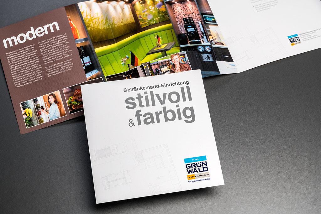 Grünwald Ladeneinrichtung GmbH, Portfolio-Prospekte: Kreation, Layout, Satz- und Korrekturarbeiten