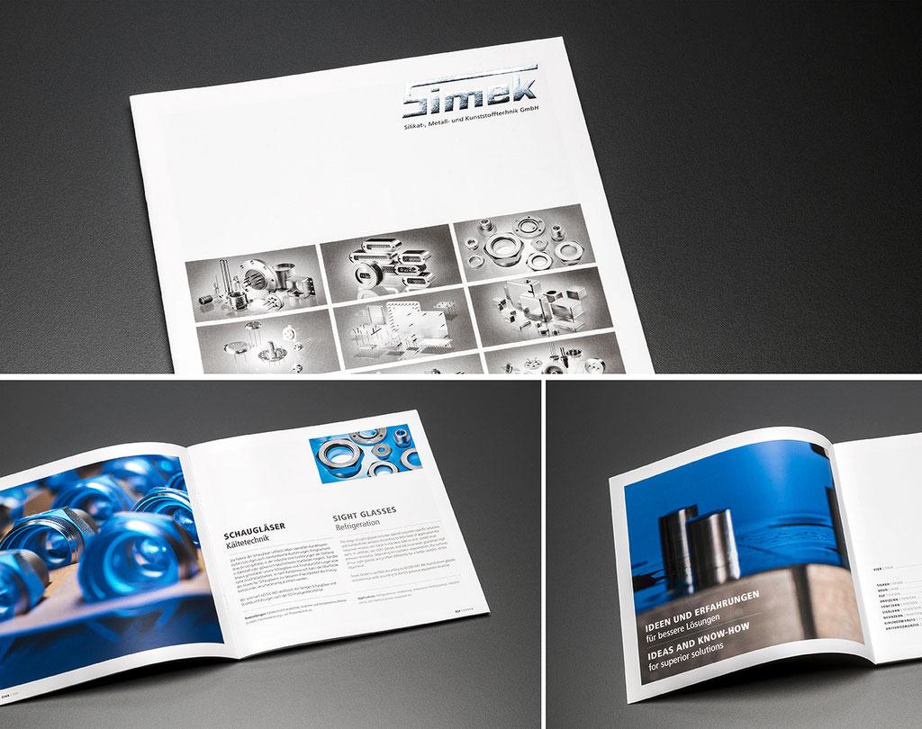SIMEK GmbH, Produktbroschüre: Industriefotos, Layout, Satz- und Korrekturarbeiten