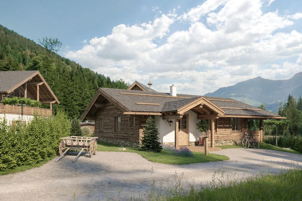 Architektuvisualisierung vom Haus 1 mit Holzdachrinnen und Schieferdeckung