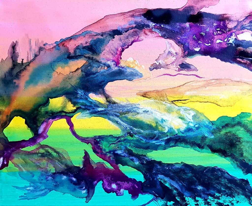 Évanescence-40x50-acrylique et encres