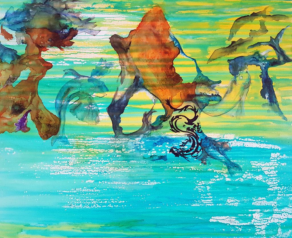 Danse Aquatique -80 x100 -Acrylique Encres