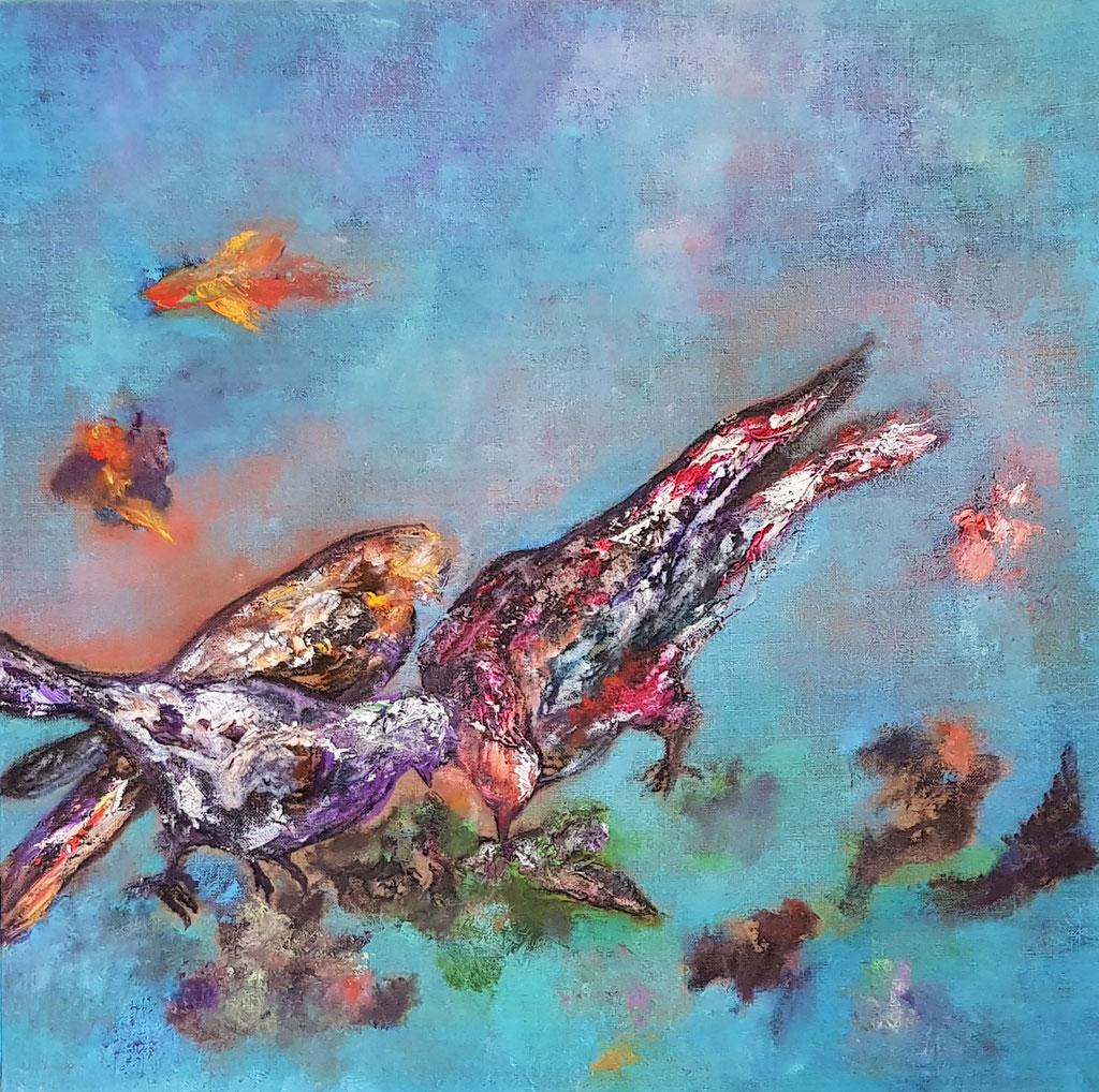 Le cantique des oiseaux-huile et encres
