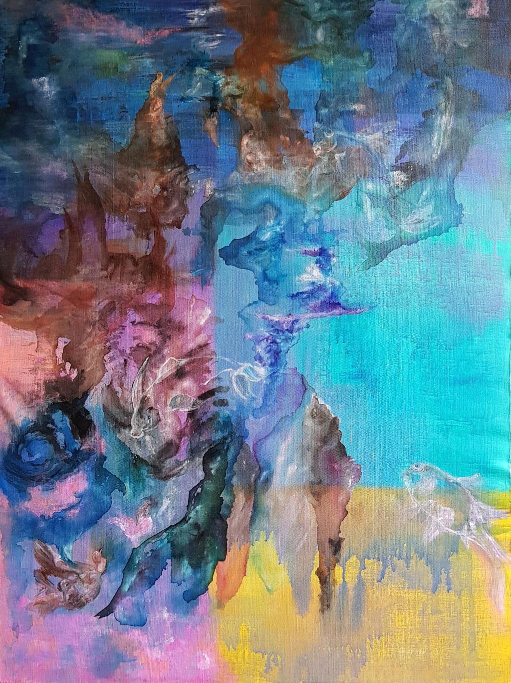 Profondeurs - 130x 97 Acrylique Encres