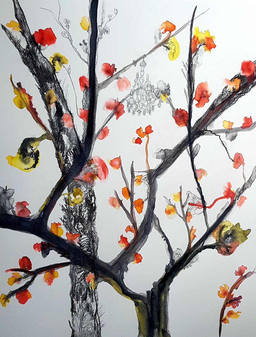 La vie en fleurs, peinture sur papier 65x50