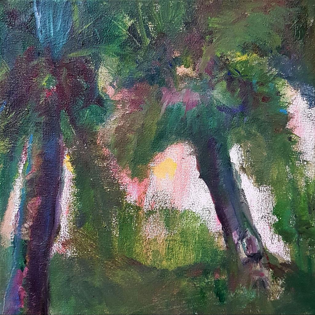 Paysage en couleurs - huile- 20x20