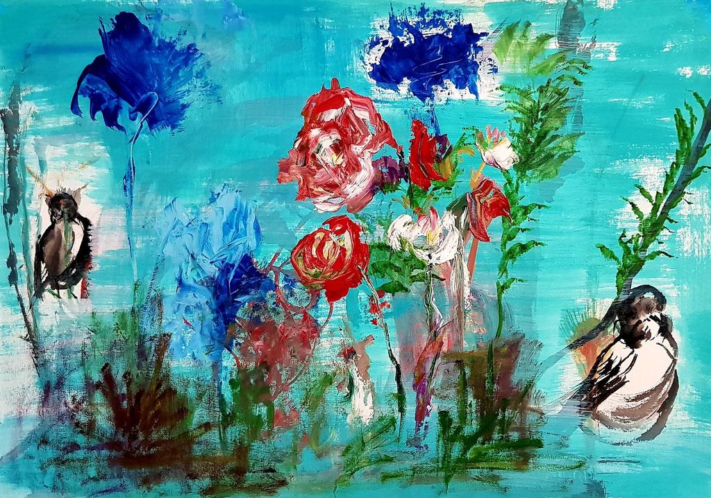 L'horizon de l'abstraction 70x50 huile sur papier d'art