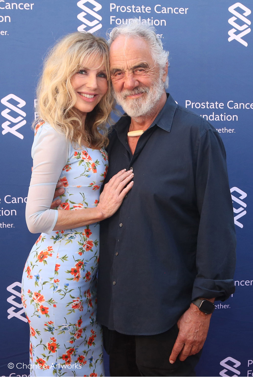 Tommy Chong and Shelby Chong  Step and Repeat at PCF Celebrity Charity Event.