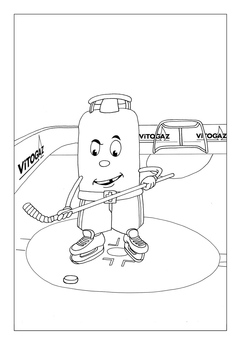 Vitogaz Kinder-Malbuch: Idee Zeichnung und Illustration: Eis Hockey