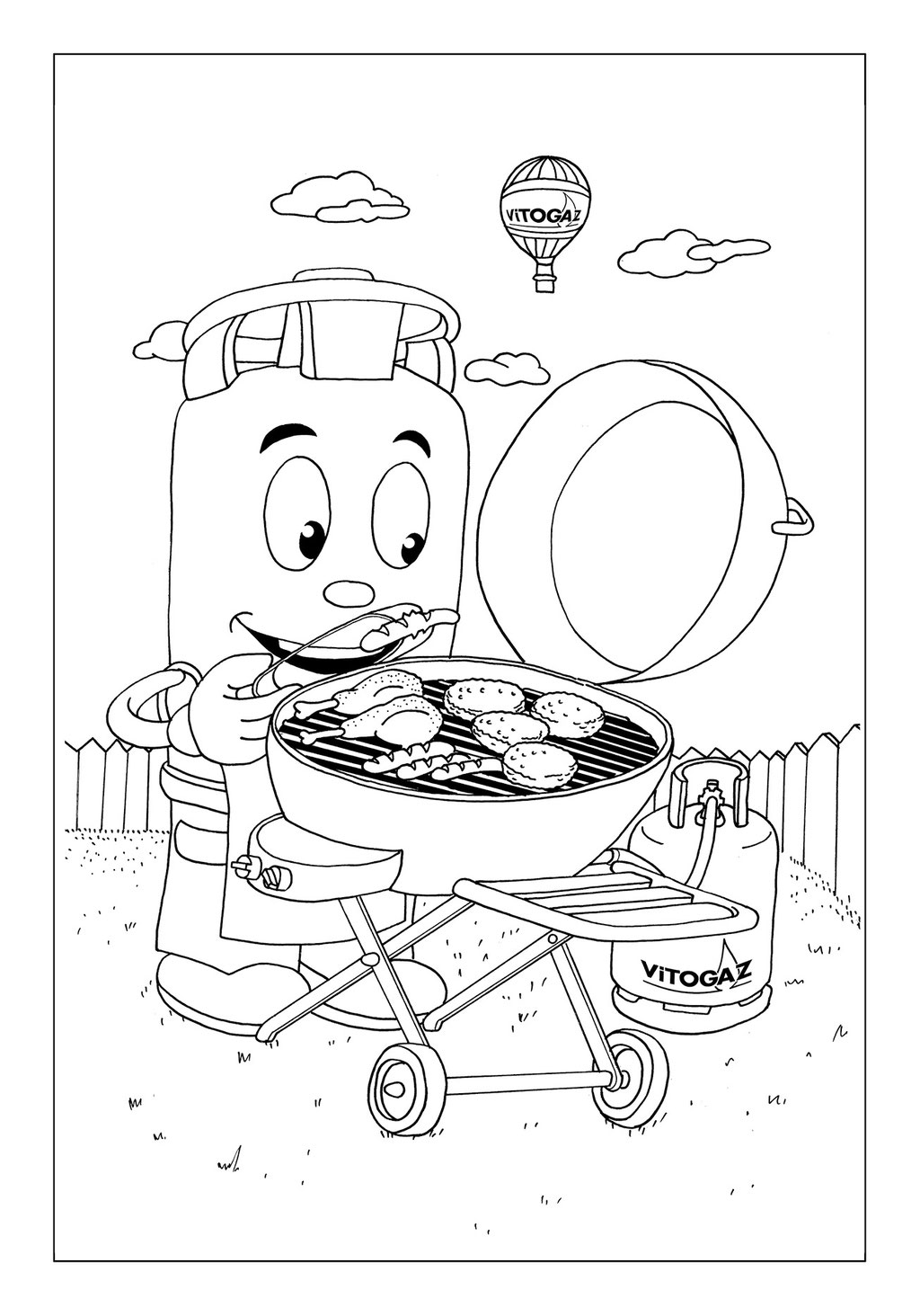 Vitogaz Kinder-Malbuch: Idee Zeichnung und Illustration: beim Fleisch grillen