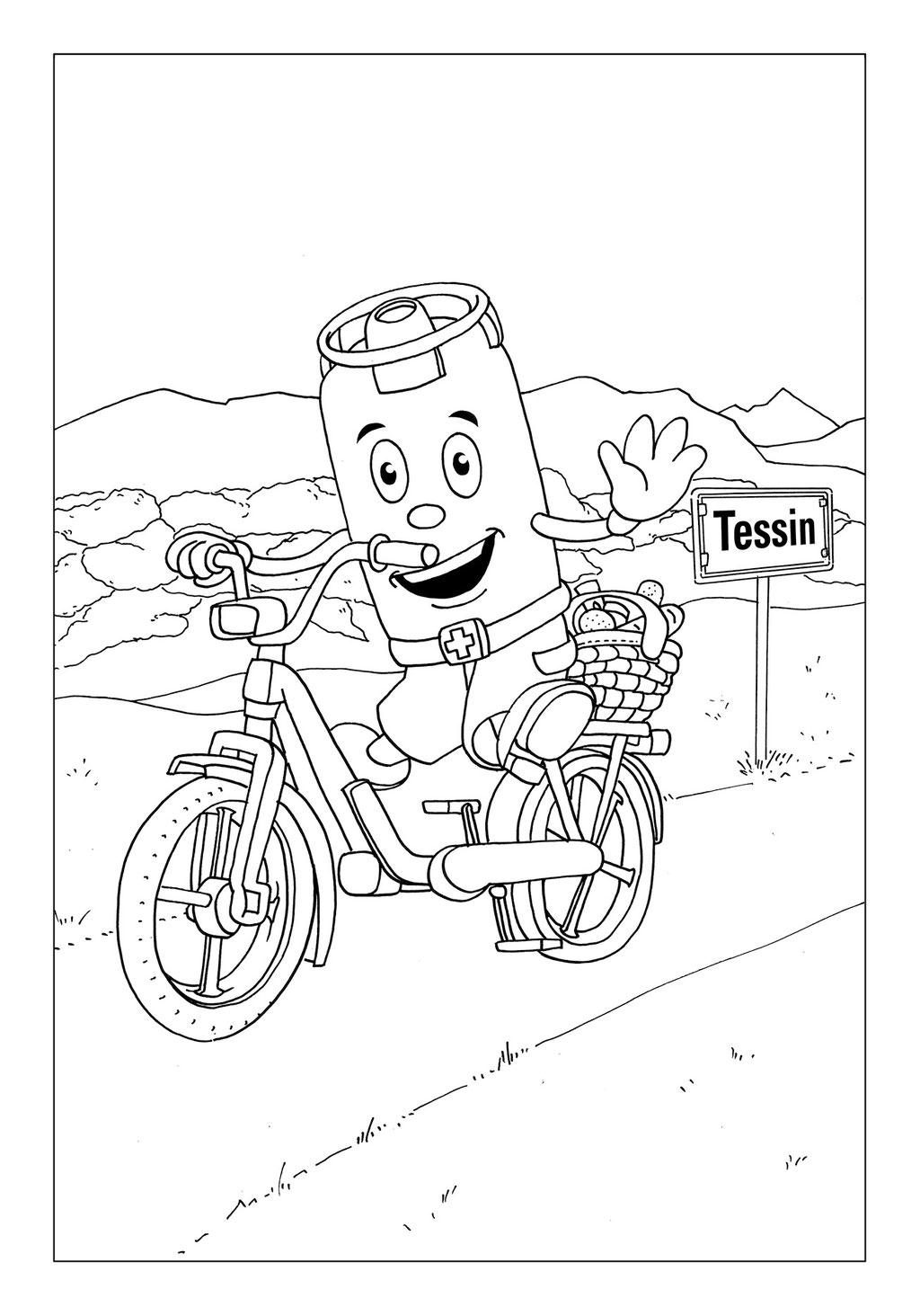 Vitogaz Kinder-Malbuch: Idee Zeichnung und Illustration: auf dem Mofa (Piaggio Ciao) im Tessin