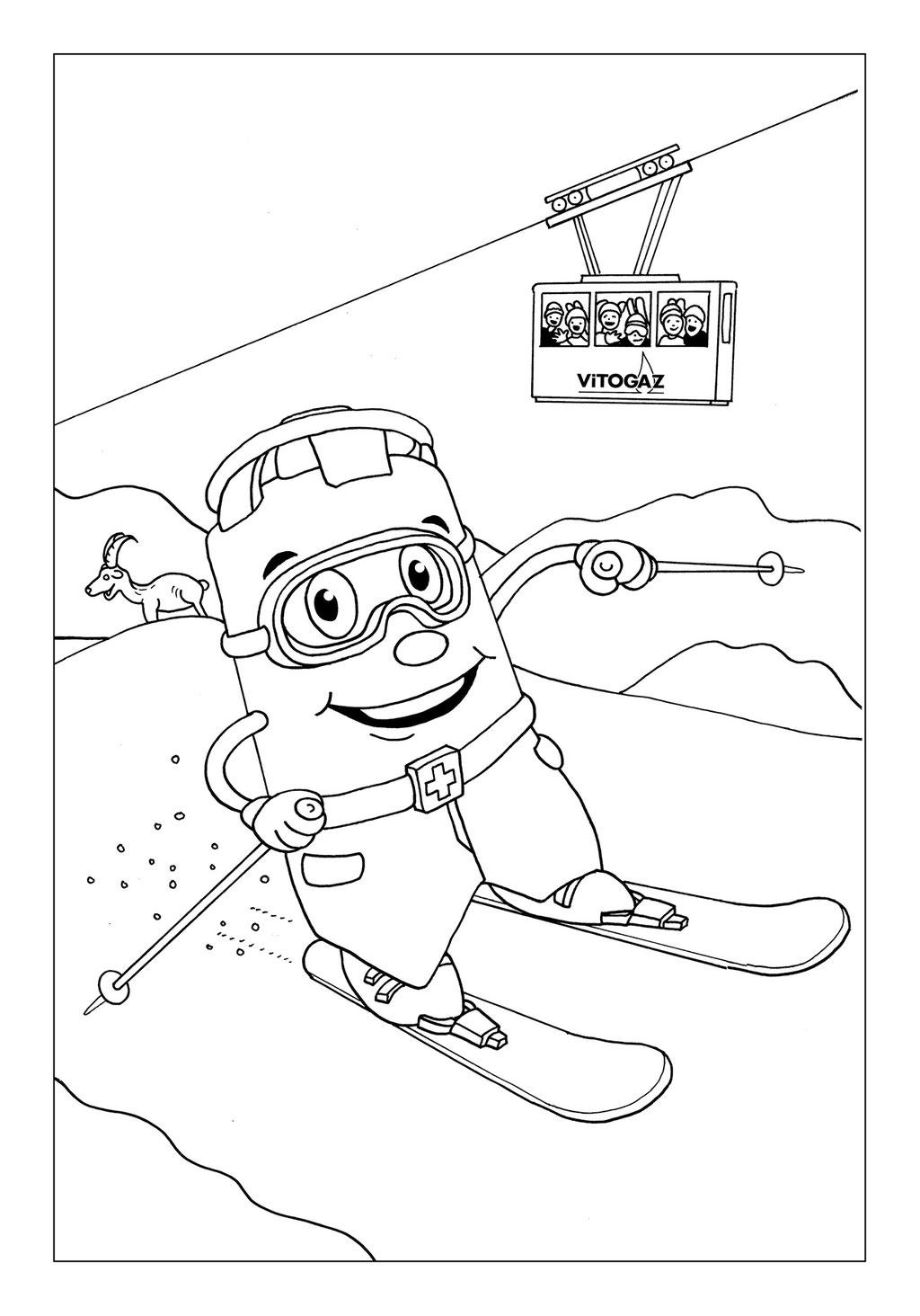 Vitogaz Kinder-Malbuch: Idee Zeichnung und Illustration: beim Ski-Fahren in den Bergen. In Hintergrund eine Seilbahn
