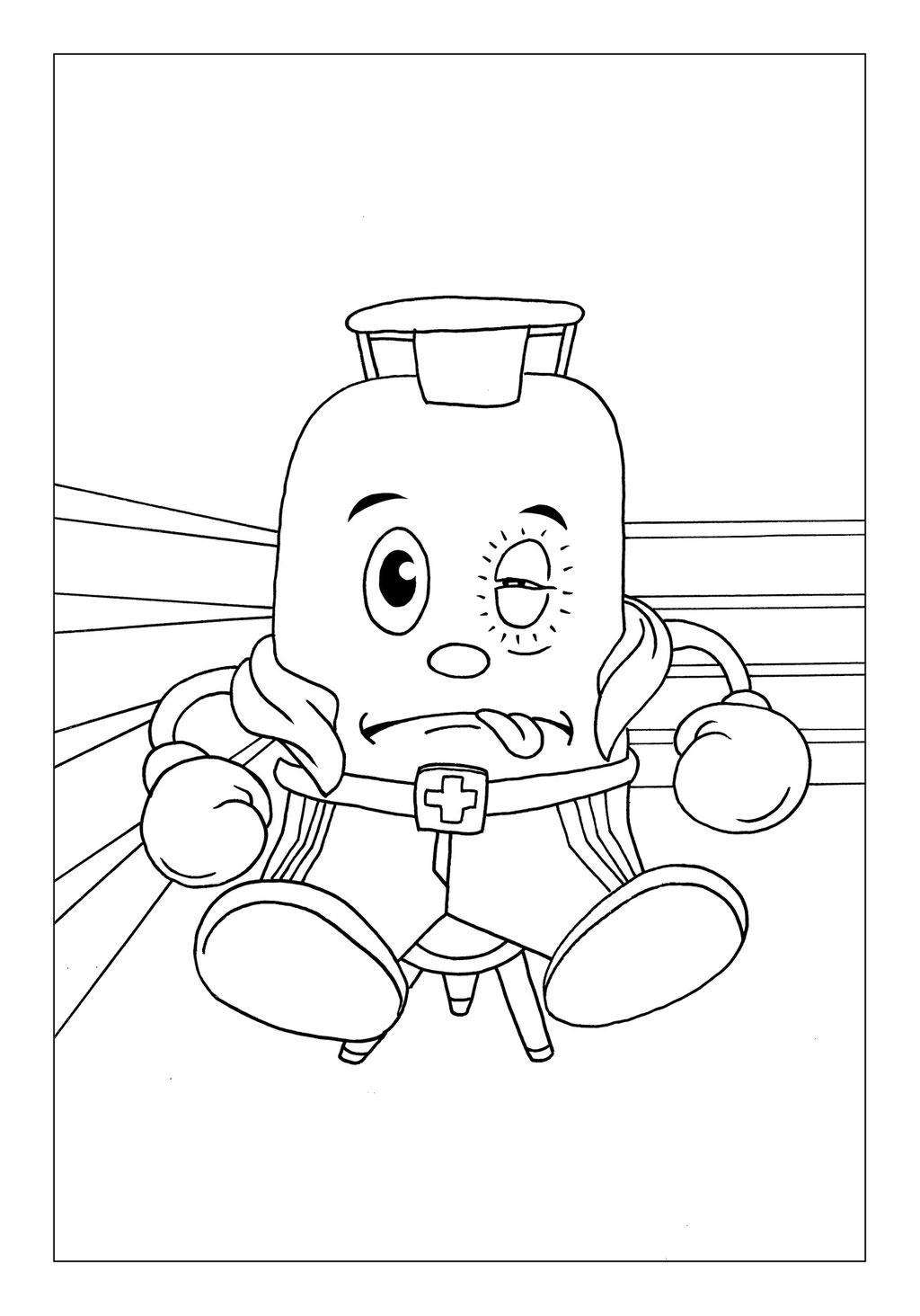 Vitogaz Kinder-Malbuch: Idee Zeichnung und Illustration: im Boxring mit blauem Auge