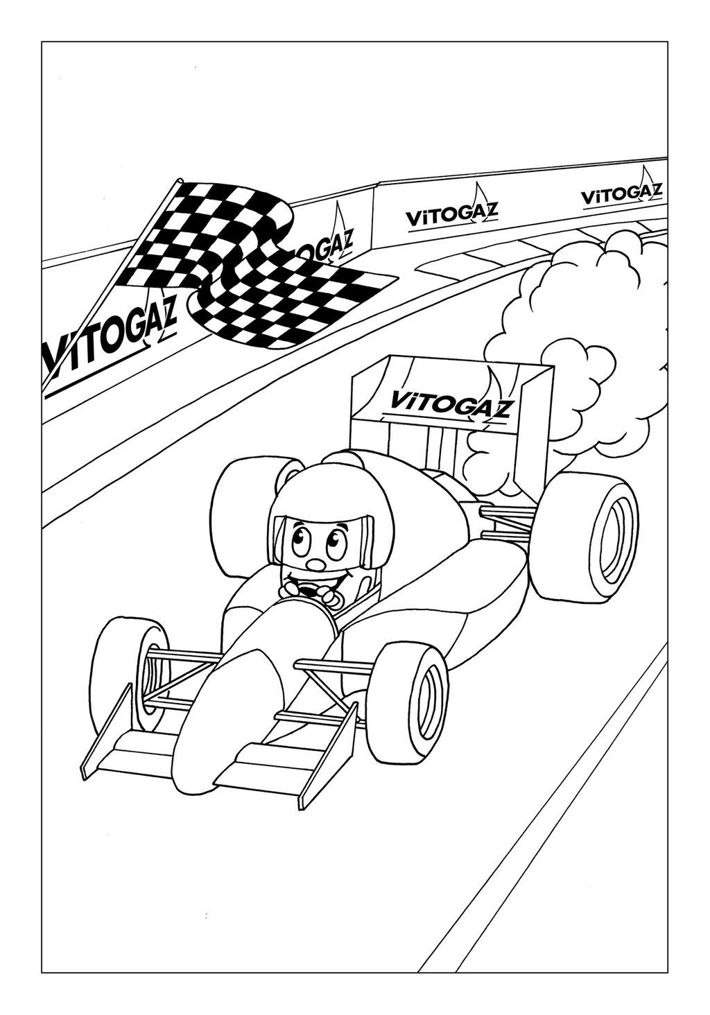Vitogaz Kinder-Malbuch: Idee Zeichnung und Illustration: auf der Rennstrecke im Formel 1 Rennwagen