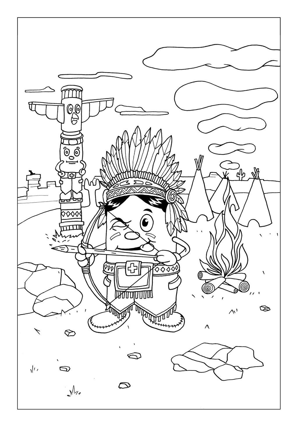 Vitogaz Kinder-Malbuch: Idee Zeichnung und Illustration: als Indianer Bogenschütze vor dem Totempfal im Wilden Westen