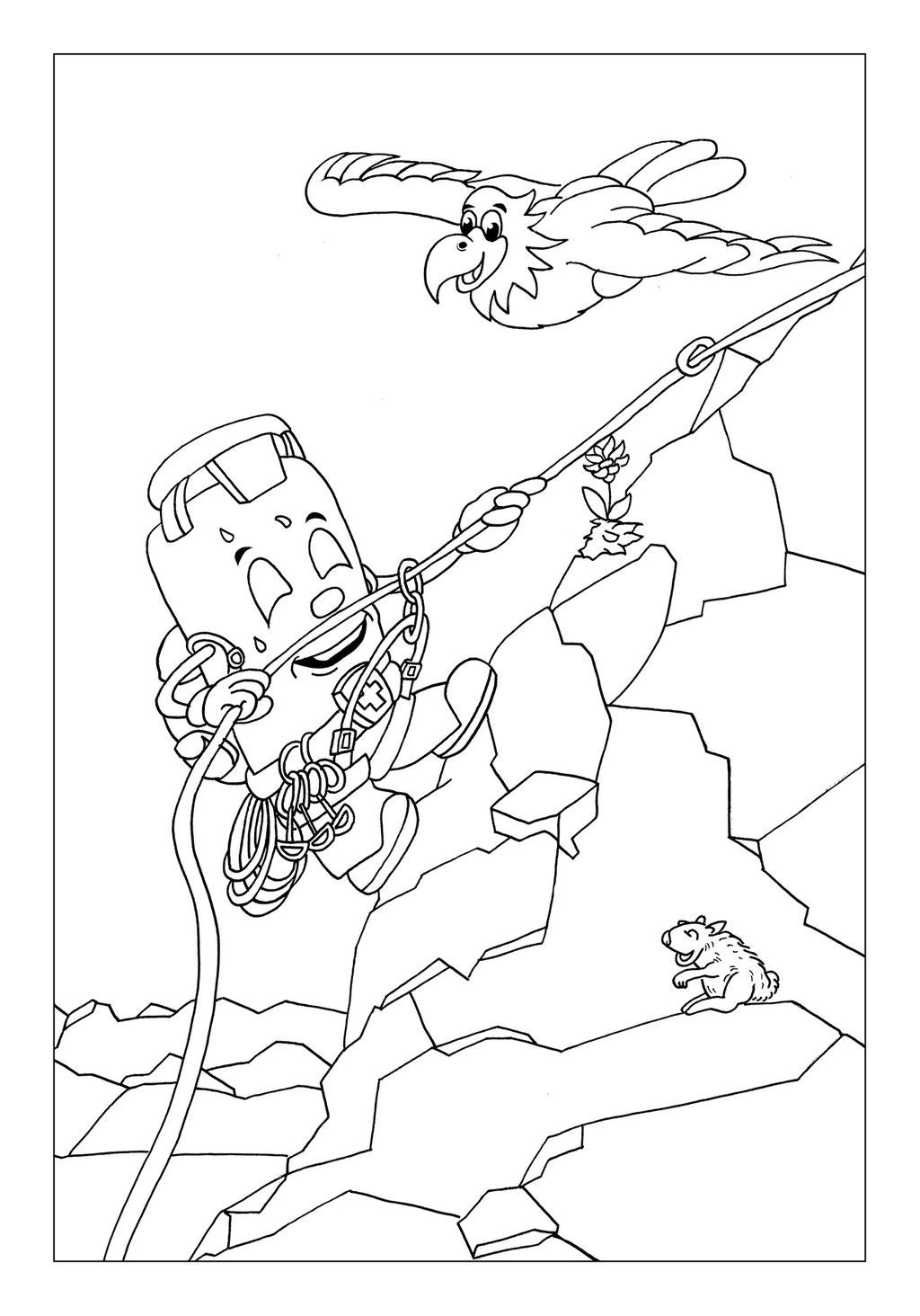 Vitogaz Kinder-Malbuch: Idee Zeichnung und Illustration: beim Klettern in den Bergen