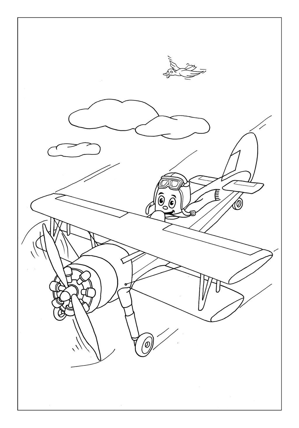 Vitogaz Kinder-Malbuch: Idee Zeichnung und Illustration: im Doppeldecker Flugzeug