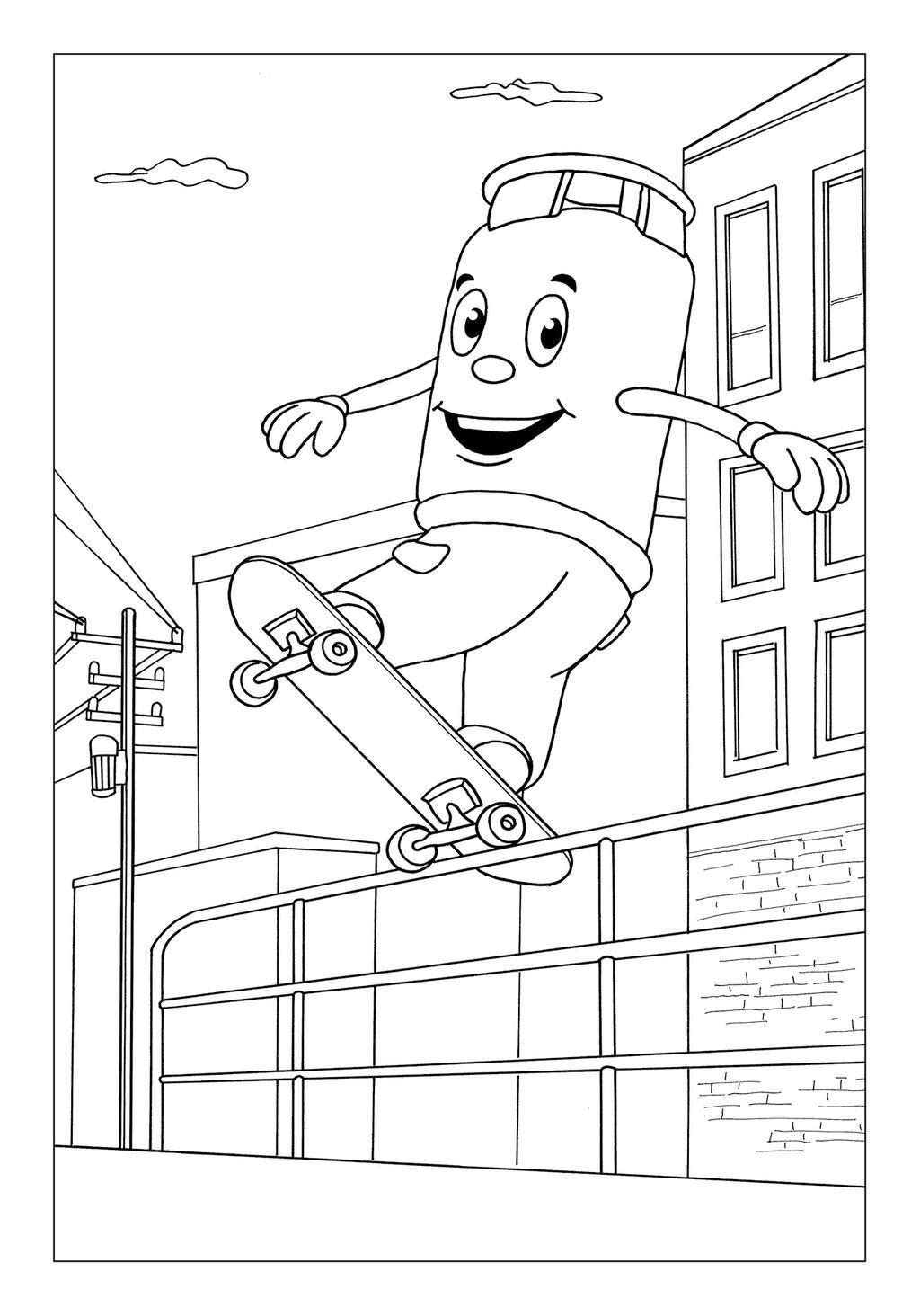 Vitogaz Kinder-Malbuch: Idee Zeichnung und Illustration: beim Skaten (Rollbrett fahren) mit urbaner Umgebung