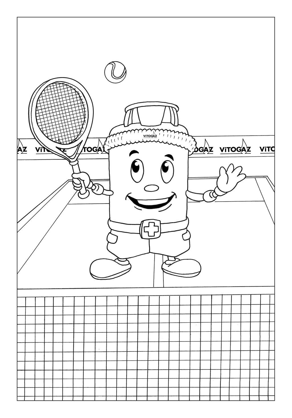 Vitogaz Kinder-Malbuch: Idee Zeichnung und Illustration: mit Schweissband und Schläger beim Tennisspielen