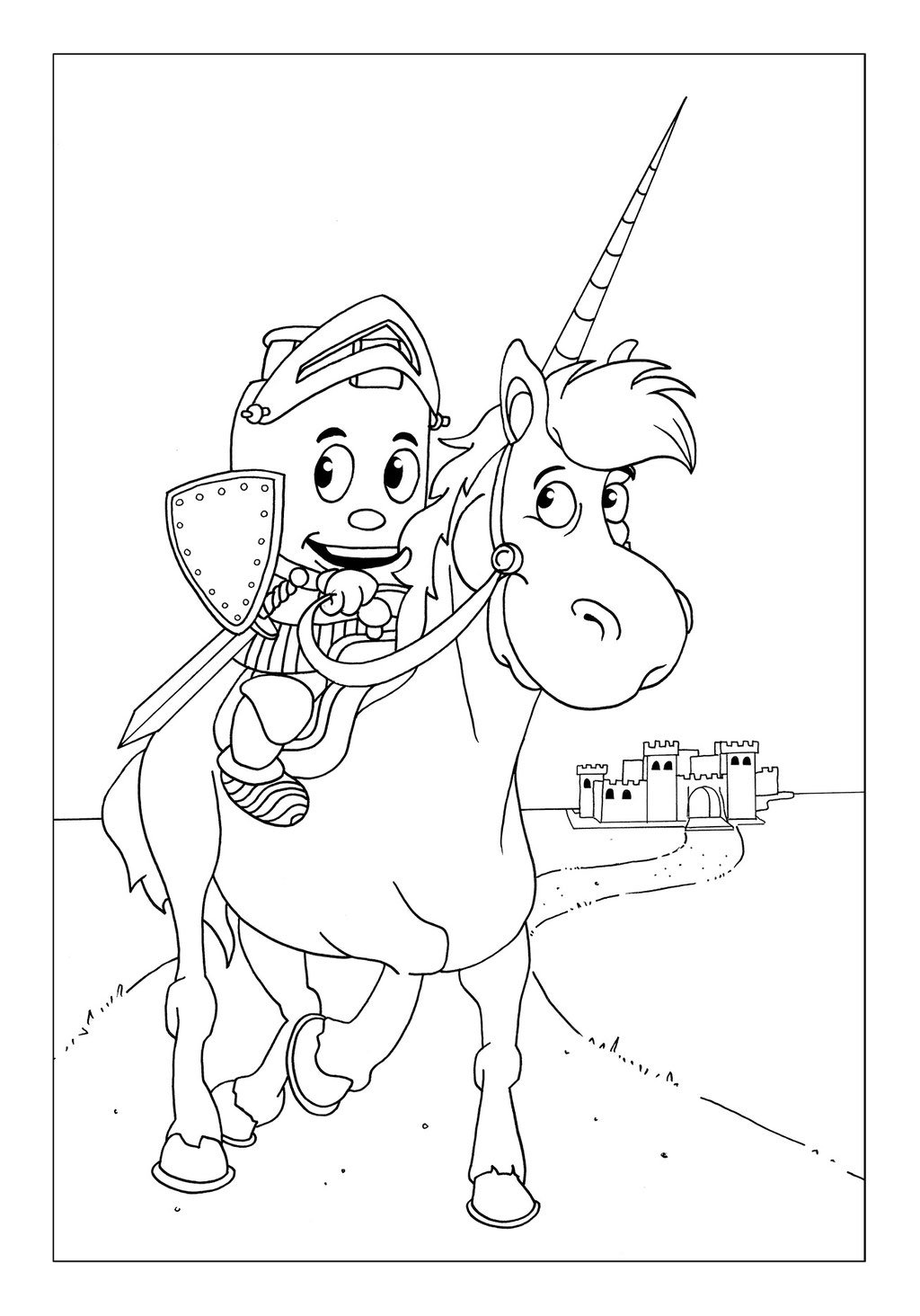 Vitogaz Kinder-Malbuch: Idee Zeichnung und Illustration: im Mittelalter als Ritter auf dem Pferd vor der Burg