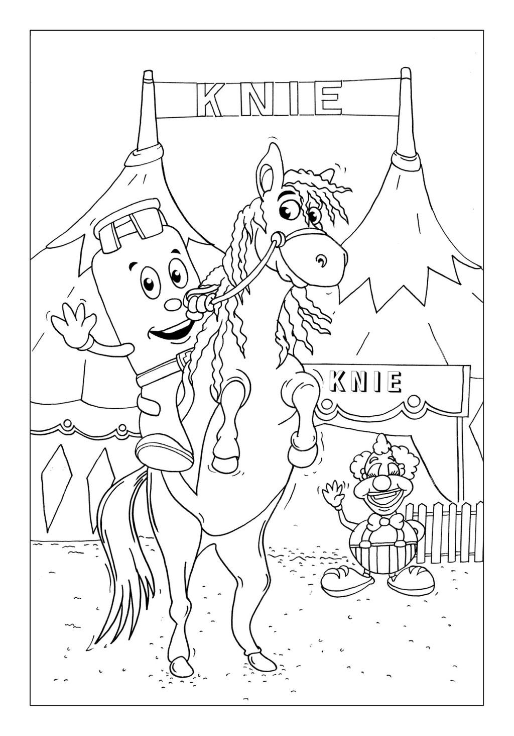 Vitogaz Kinder-Malbuch: auf dem Pferd beim Zirkus Knie. Ideen Zeichnung und Illustration by Lockedesign
